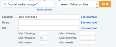 Follower wonk search options